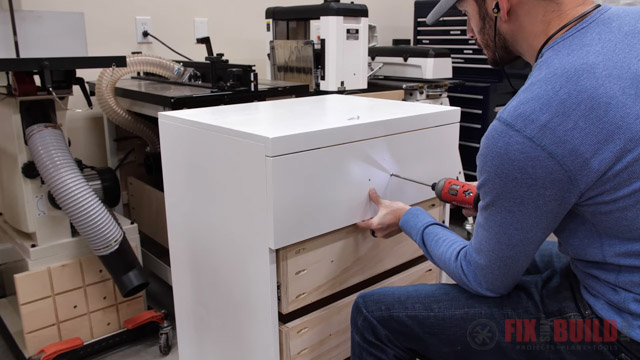 screwing drawer front to drawer base