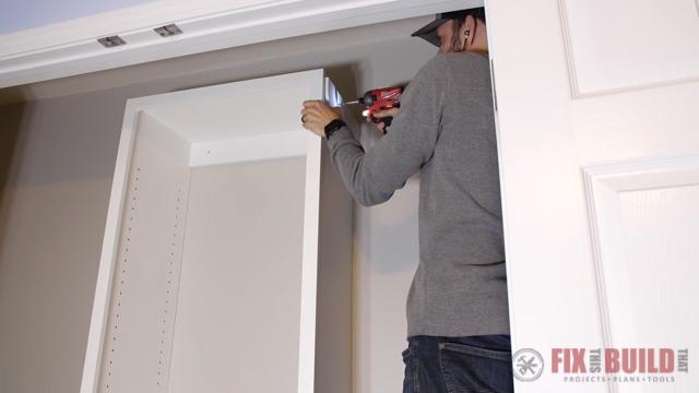 adding upper shelves to closet organizer