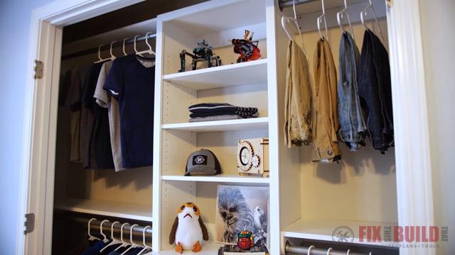 DIY Closet Organizer with Shelves and Drawers