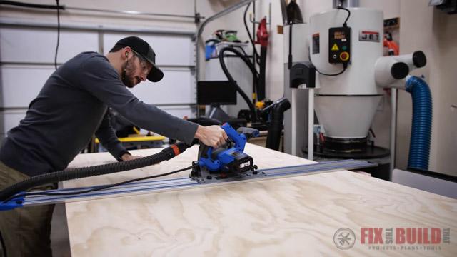 cutting down plywood with Kreg track saw