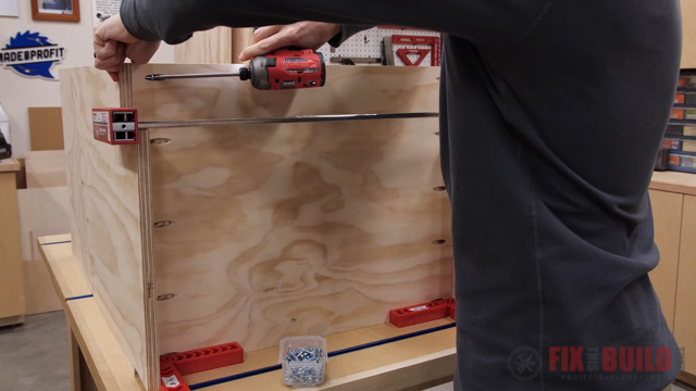 screwing the cabinet base together