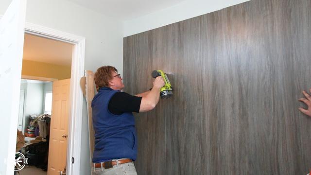 tacking back panels to closet wall