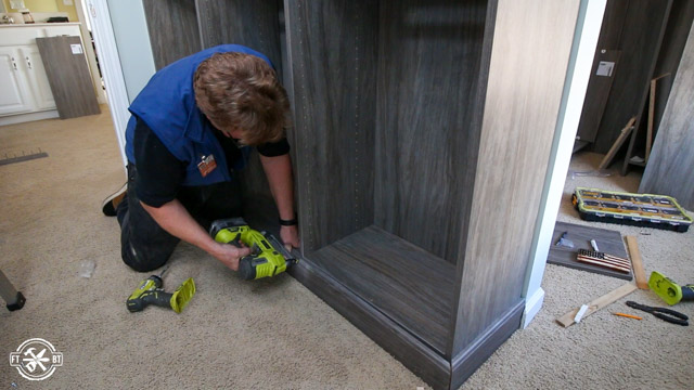 adding toe trim to closet organizer