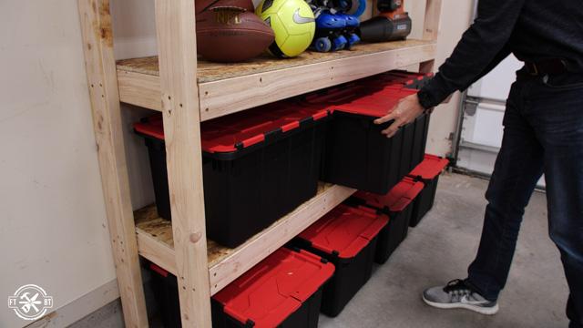 adding storage bins to shelves
