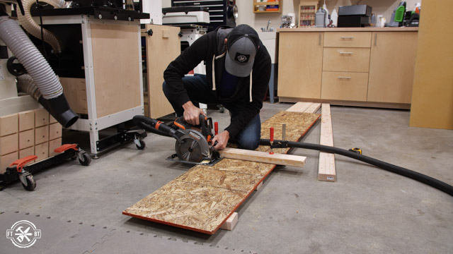 cutting OSB to length with circular saw