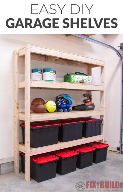 Easy DIY Garage Shelves for Storage