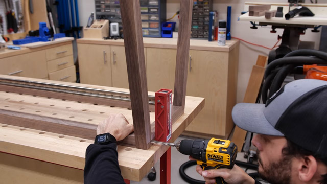 drilling holes to attach wood with dowels