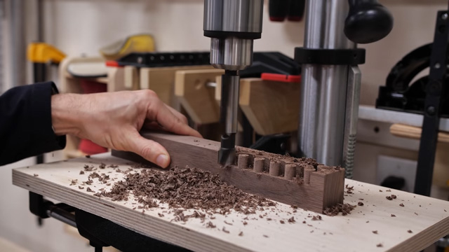 making wood plugs on a drill press