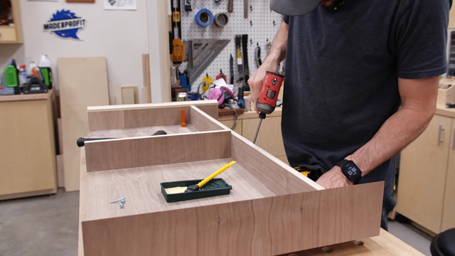 gluing up desk and adding pocket holes
