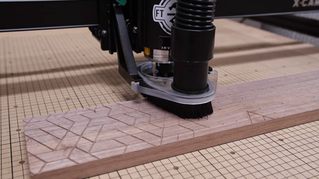 Cutting pattern into wood with CNC machine
