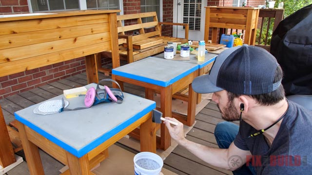 applying varnish to outdoor furniture