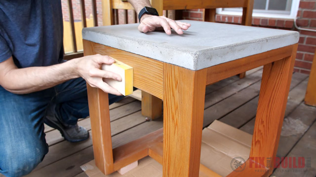 sanding wooden outdoor furniture