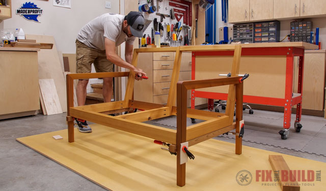 clamping wooden sofa in place