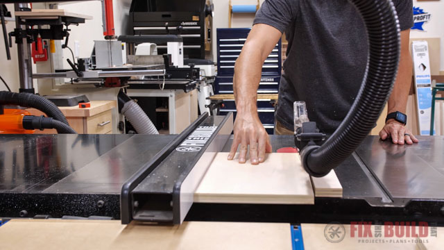 Cutting wood on table saw