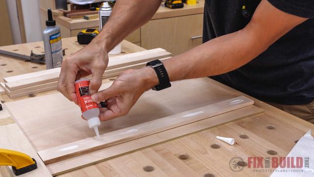 glue on wood strip