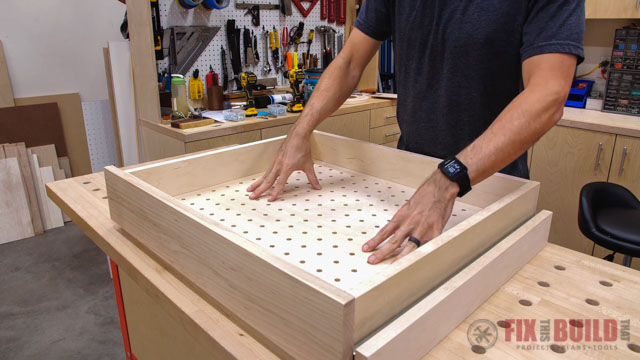 adding pegboard to drawer