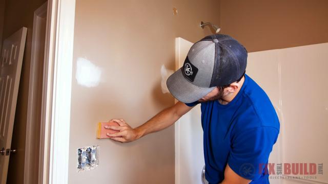 sanding walls in bathroom