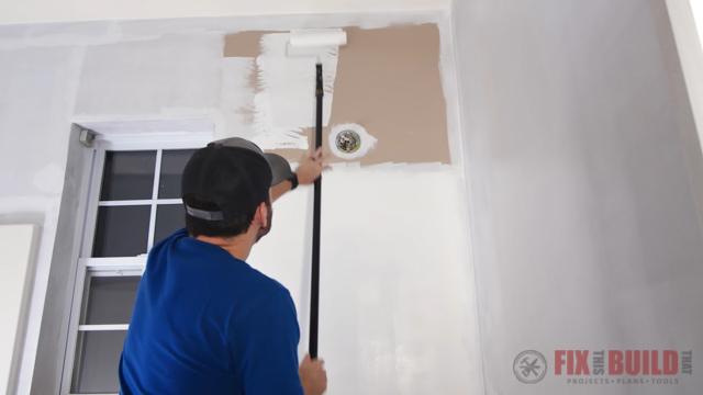 painting primer on bathroom walls