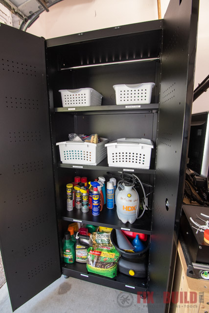 husky garage cabinet holding bins and containers