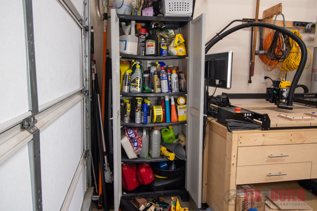 cabinet filled with items