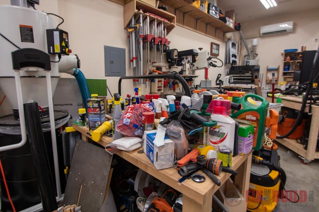 all the products removed from garage storage cabinet