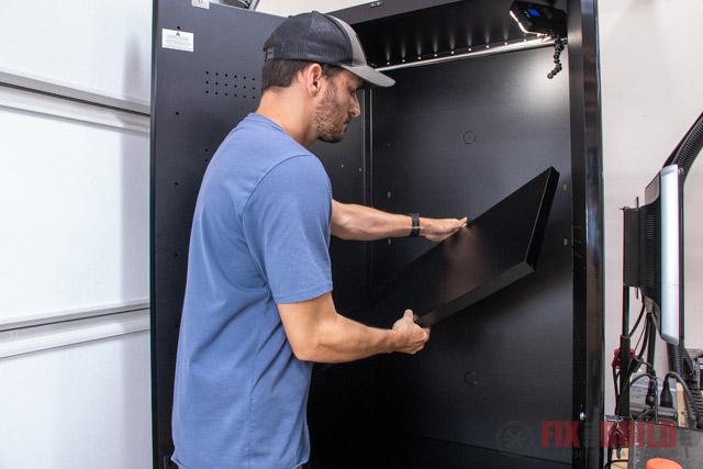 putting shelves in garage cabinet