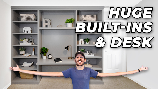 how to build bookshelves with a built in desk