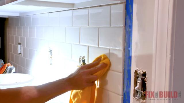 wiping haze off tile backsplash