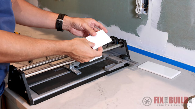 using snap cutter to cut tiles