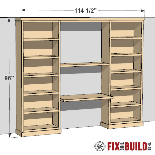 buil-in bookcase bookshelves with desk plans
